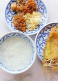Riso tailandese dell'alimento in acqua di ghiaccio Fotografia Stock Libera da Diritti
