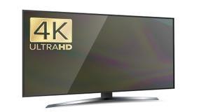 risoluzione Smart TV dello schermo 4K Ultra monitor di HD isolato sull'illustrazione bianca Immagini Stock