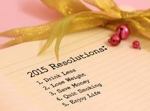 2015 risoluzioni Immagini Stock Libere da Diritti