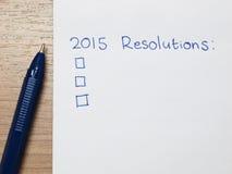 2015 risoluzioni Fotografia Stock Libera da Diritti