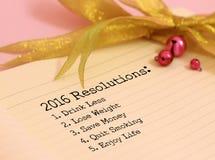 2016 risoluzioni Immagini Stock