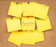 Risoluzioni in bianco appiccicose della nota per il nuovo anno Immagini Stock Libere da Diritti
