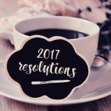 Risoluzioni del testo e del caffè 2017 Immagini Stock