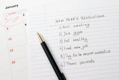 Risoluzioni e calendario del nuovo anno Fotografia Stock Libera da Diritti