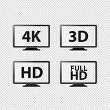 Risoluzioni 4K, 3D, HD e FullHD - icone della TV di vettore - isolati su fondo trasparente royalty illustrazione gratis