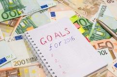 Risoluzioni per il nuovo anno 2016 con l'euro Fotografia Stock Libera da Diritti