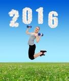 Risoluzioni sane per il nuovo anno 2016 Fotografie Stock