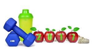 Risoluzioni sane per il nuovo anno 2017 Immagini Stock