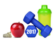 Risoluzioni sane per il nuovo anno 2017 Immagine Stock Libera da Diritti