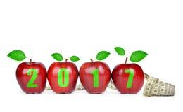 Risoluzioni sane per il nuovo anno 2017 Immagine Stock