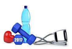 Risoluzioni sane per il nuovo anno 2017 Immagini Stock Libere da Diritti
