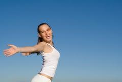 Risolvere felice della donna Fotografie Stock