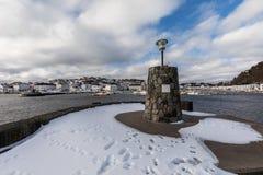 Risor, Норвегия - 16-ое марта 2018: Город и гавань Risor, маленький город в южной части Норвегии Стоковые Фотографии RF
