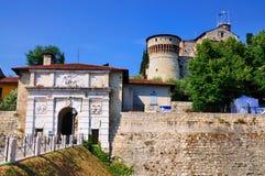布雷西亚,意大利城堡  免版税库存照片