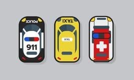 Risorsa dell'automobile del bene, della polizia, dell'ambulanza e del taxi del gioco di vista superiore 2D per progettazione del  Fotografia Stock Libera da Diritti