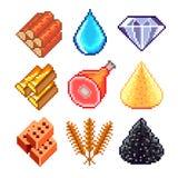 Risorse del pixel per l'insieme di vettore delle icone dei giochi illustrazione vettoriale