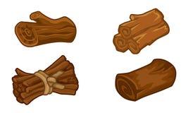 Risorse di legno per l'insieme di vettore delle icone dei giochi Immagine Stock Libera da Diritti