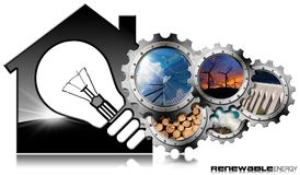 Risorse rinnovabili - Camera con la lampadina Immagini Stock Libere da Diritti