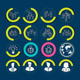 Risorse umane ed icone della gestione impostate Illustrazioni di vettore Immagine Stock Libera da Diritti