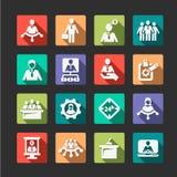 Risorse umane ed icone piane della gestione Fotografia Stock