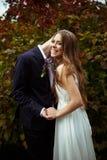 Risos da noiva quando o noivo disser algo em sua orelha que está dentro Imagem de Stock