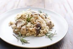 Risoto com cogumelos, ervas e queijo parmesão Imagens de Stock Royalty Free