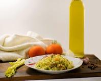 Risoto delicioso com peru e os legumes frescos Alimento italiano fotografia de stock royalty free