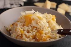 Risotto κολοκύθας με το τυρί παρμεζάνας Στοκ Εικόνα
