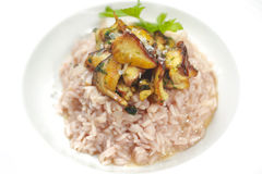 Risotto. Fresh risotto with mushrooms close up shoot Stock Image