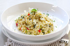 Risotto. Chicken and garlic risotto, garnished with shaved parmesan and parsley Stock Image