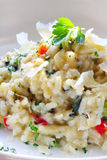 Risotto. Chicken and garlic risotto, with shaved parmesan and parsley Stock Images