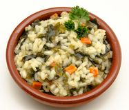 Risotto. With algae served on a plate surrounded by white background Stock Photos