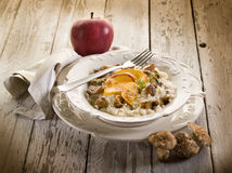 Risotto with apple and mushroom Royalty Free Stock Photos