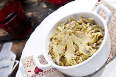 Risotto with artichokes. The first dish of rice with artichokes Royalty Free Stock Images