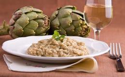 Risotto with artichokes. Closeup of risotto with artichokes Stock Image