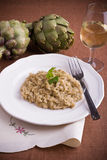 Risotto with artichokes. Closeup of risotto with artichokes Royalty Free Stock Photography