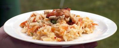 Risotto asiático del arroz basmati con las gambas asadas a la parilla Imagen de archivo
