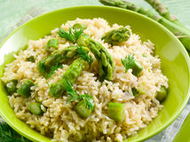 Risotto with asparagus Stock Photos