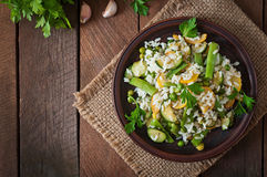 Risotto with asparagus beans Royalty Free Stock Photo