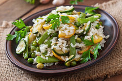 Risotto with asparagus beans Royalty Free Stock Images
