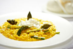 Risotto with asparagus and mozzarella cheese Royalty Free Stock Image