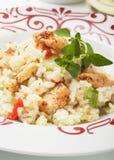 Risotto avec de la viande de légume et de poulet Photo libre de droits