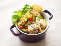 Risotto avec la courgette et le piment Nourriture végétarienne délicieuse Images stock
