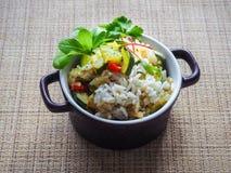 Risotto avec la courgette et le piment Nourriture végétarienne délicieuse Image libre de droits