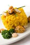 Risotto avec le safran et les fruits de mer Photo libre de droits