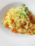 Risotto with bacon. Closeup of Risotto rice with parmesan cheese, broth, bacon, carrots and onions Royalty Free Stock Images