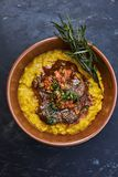 Risotto with beef stew stock photos