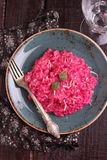 Risotto with beetroot Stock Photo