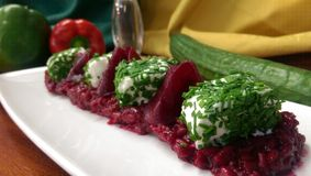 Risotto. Beetroot and goat's cheese risotto Royalty Free Stock Photos