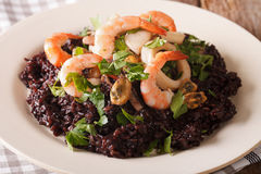 Risotto of black rice with seafood close up on a plate. horizont Stock Images